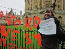 """""""By investing in companies still searching for and burning fossil fuels, Oxford is supporting an industry that is ignoring the strong science of climate change, and undermining our very futures. Calling for divestment places Oxford in a global community striving to inspire change, and place power away from large multinational corporations and back into the hands of the people."""" - Abigail Motley, 2nd year Biologist, St Hilda's College"""