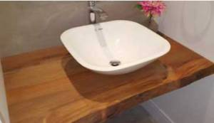 Recycled wood and sink