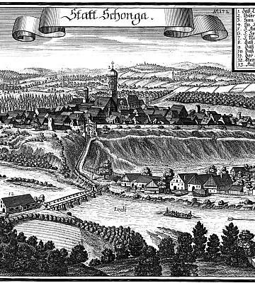 Schongau um 1600 - Kupferstich von Michael Wening