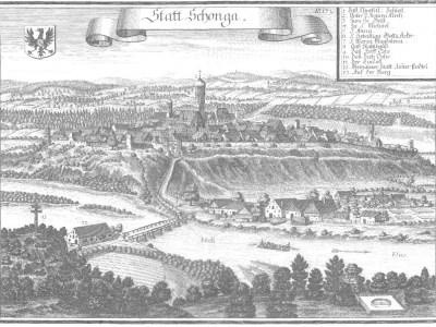 Schongau historische Stadtansicht 17. Jh. - Kupferstich