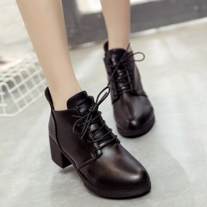 2020 autumn and winter shoes high-heeled boots ladies round Martin British style boot shoes with thick Bottine
