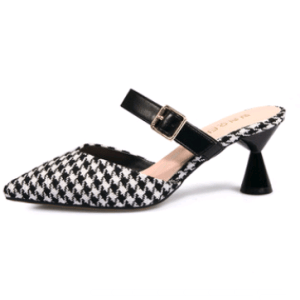 Spring and summer new Korean version of the plaid Baotou half slippers female pointed sandals and slippers high-heeled thick with wild women's shoes