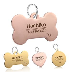 YVYOO Dog Pet Cat Dog collar accessories Decoration Free engraving customized Pet ID Tags Collars stainless steel Cat tag BB