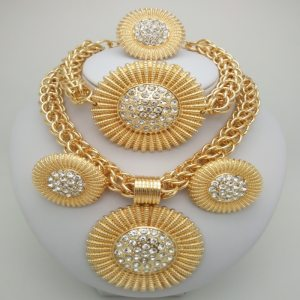 Kingdom Ma Gold Color jewelry sets African Costume Zinc Alloy Jewelry Set Nigerian Wedding African Beads Pearl big jewelry sets