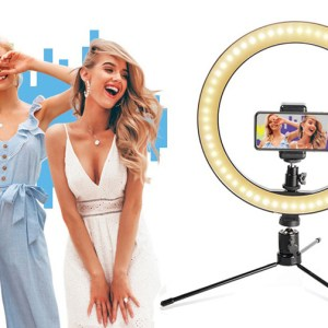 """10.2"""" Dimmable LED Desk Makeup Beauty RingLight with Phone Holder for iPhone/Android/YouTube Video Ring Light with Stand"""