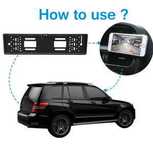 WIFI Car Rear View Camera with European Number Plate License Frame Car License Plate Reverse Camera
