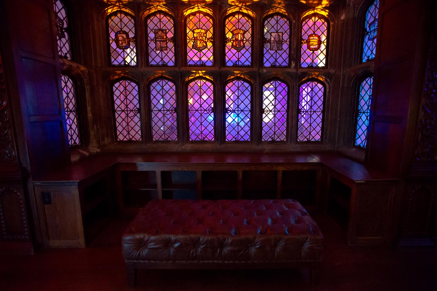 Stain glass effect on windows due to interior courtyard lighting