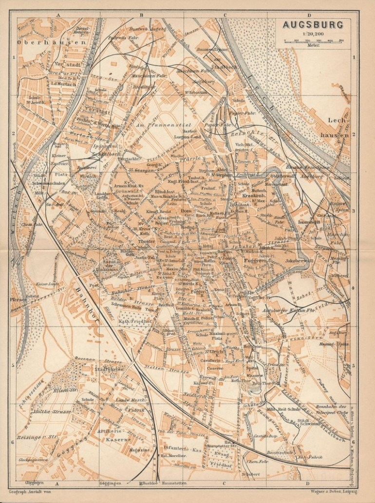 1907 Augsburg Germany Antique Map inside Augsburg Germany Map