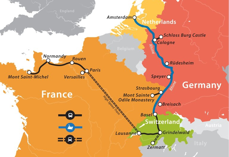 2019 Rhine River Cruise: Paris To Amsterdam – Fun For Less Tours inside Rhine River Germany Map