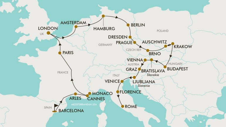 30 Day Grand Europe | Tripadeal with regard to Map Of Germany Austria And Italy