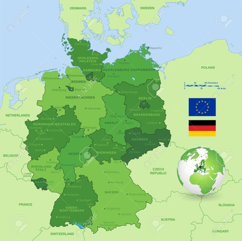 A High Detail Vector Map Of Germany States And Major Cities,.. within Map Of Germany With States And Major Cities