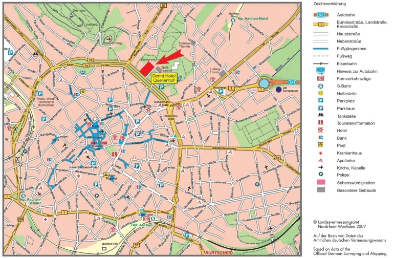 Aachen Tourist Map within Aachen Germany Map