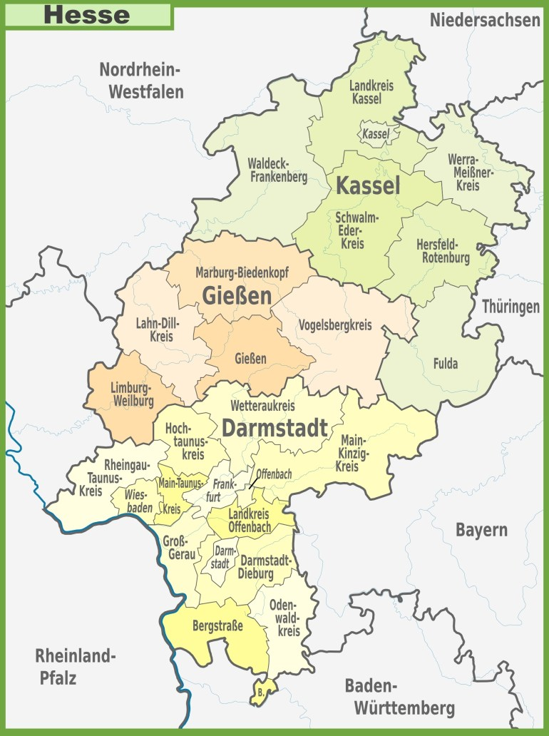 Administrative Divisions Map Of Hesse in Hessen Germany Map