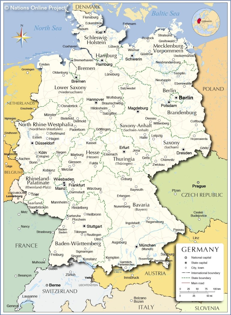 Administrative Map Of Germany - Nations Online Project throughout East And West Germany Border Map