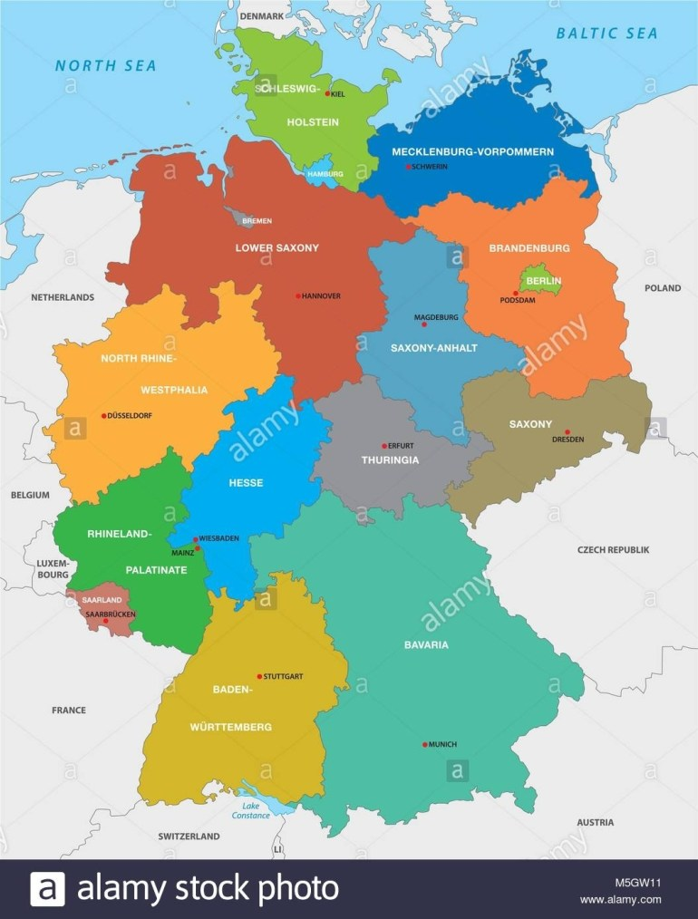 Administrative Map Of The Federal Republic Of Germany In English with regard to Political Map Of Germany In English