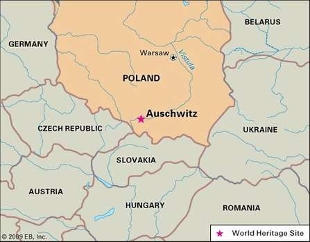 Auschwitz | Facts, Location, & History | Britannica inside Auschwitz Germany Map