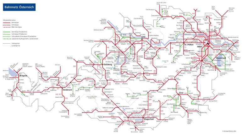 Austria Train Map - Obb Austrian Rail Map (Western Europe - Europe) with Rail Map Germany And Austria