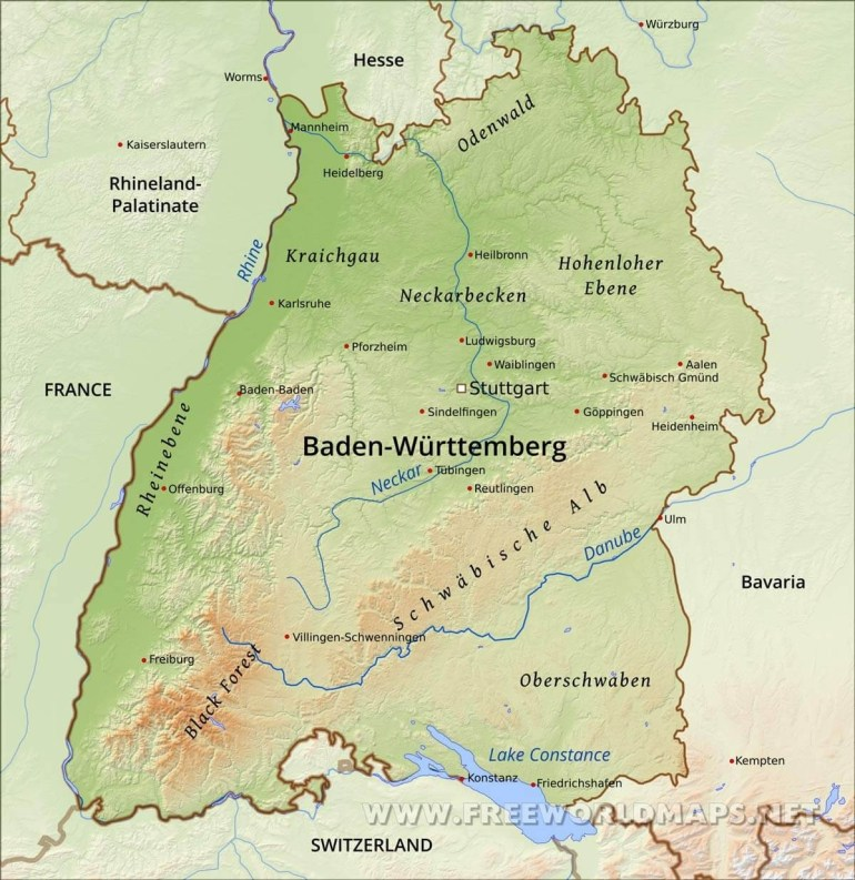 Baden Württemberg Physical Map intended for Black Forest Germany Map