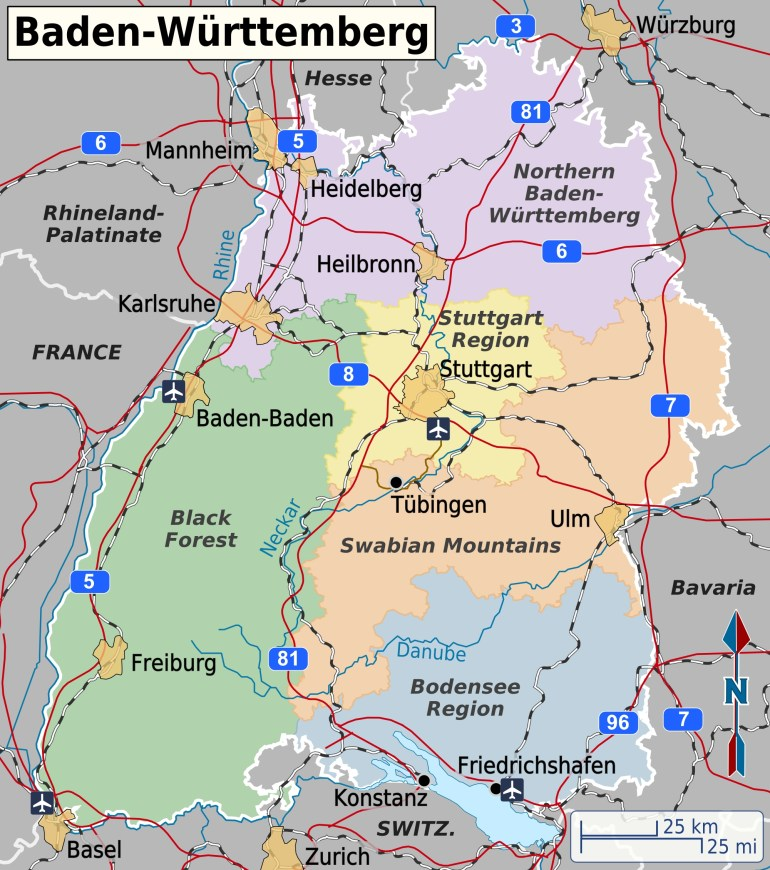 Baden-Württemberg – Travel Guide At Wikivoyage in Map Black Forest Region Germany