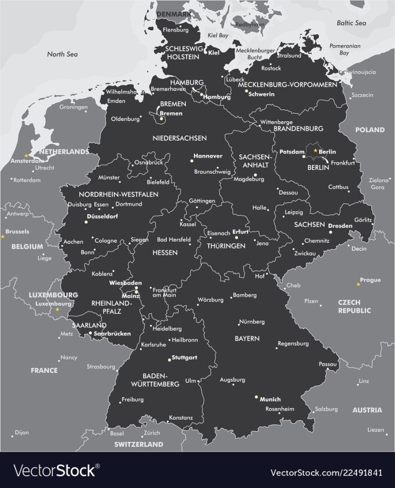 Black And White Map Of Germany with Germany Map Black And White