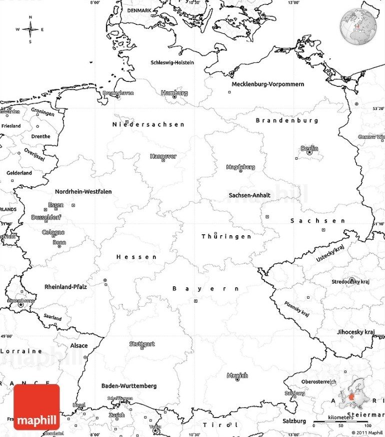 Blank Simple Map Of Germany for Blank Map Of Germany And Surrounding Countries