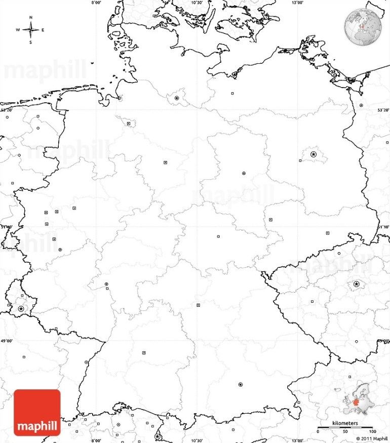Blank Simple Map Of Germany, No Labels pertaining to Outline Map Of Germany Printable