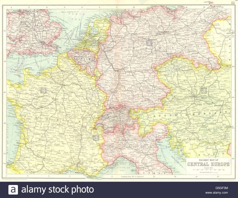 Central Europe Railways: France Germany Austria-Hungary Switzerland pertaining to Map Of France Germany Switzerland Austria