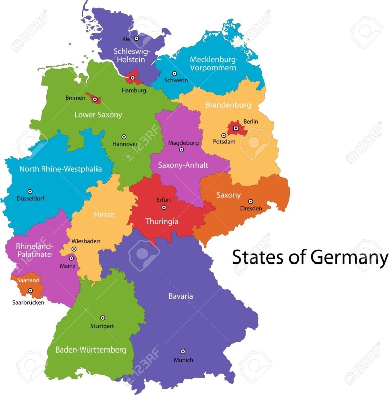 Colorful Germany Map With Regions And Main Cities regarding Free Map Of Germany