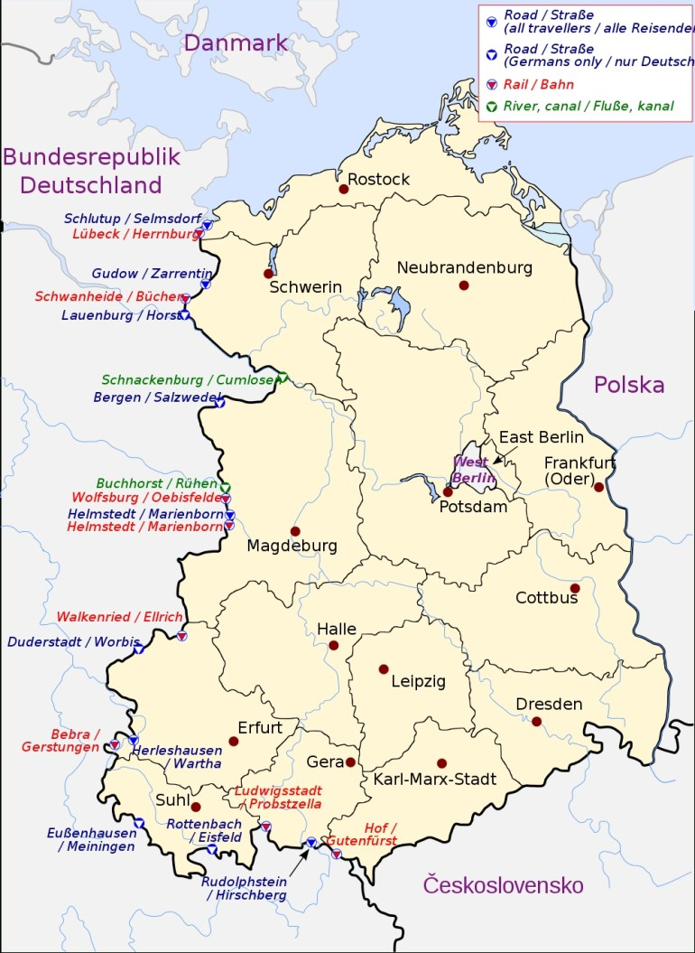 Crossing The Inner German Border - Wikipedia for Map Of Germany Divided Into East And West