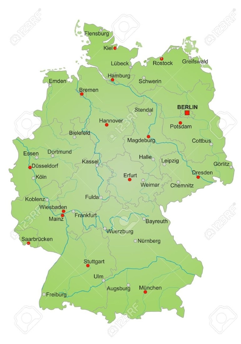 Detailled Map Of Germany Showing Cities, Rivers And All States pertaining to Map Of Germany States And Cities