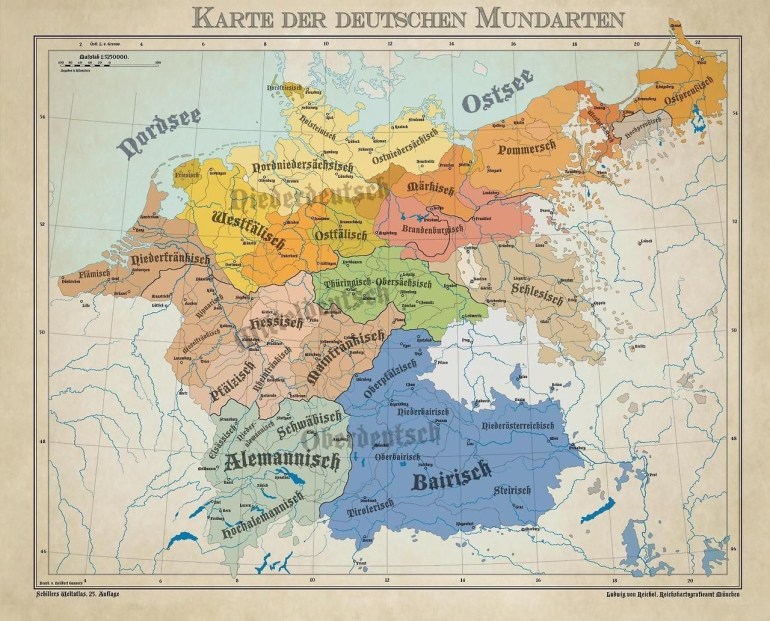 Dialects From The German Language Area 1900. | Maps | German in German Map In 1900