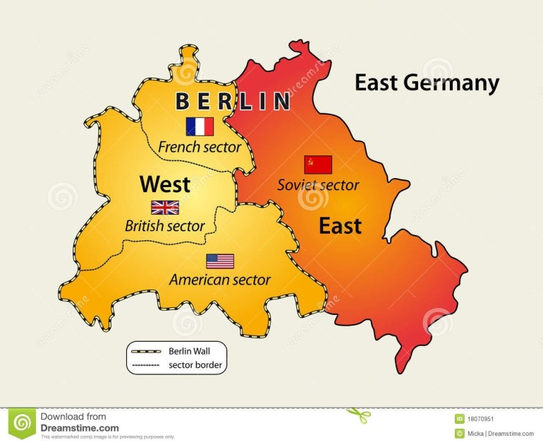 Divided Berlin Stock Vector. Illustration Of East, German - 18070951 with regard to Map Of East Germany Before 1989