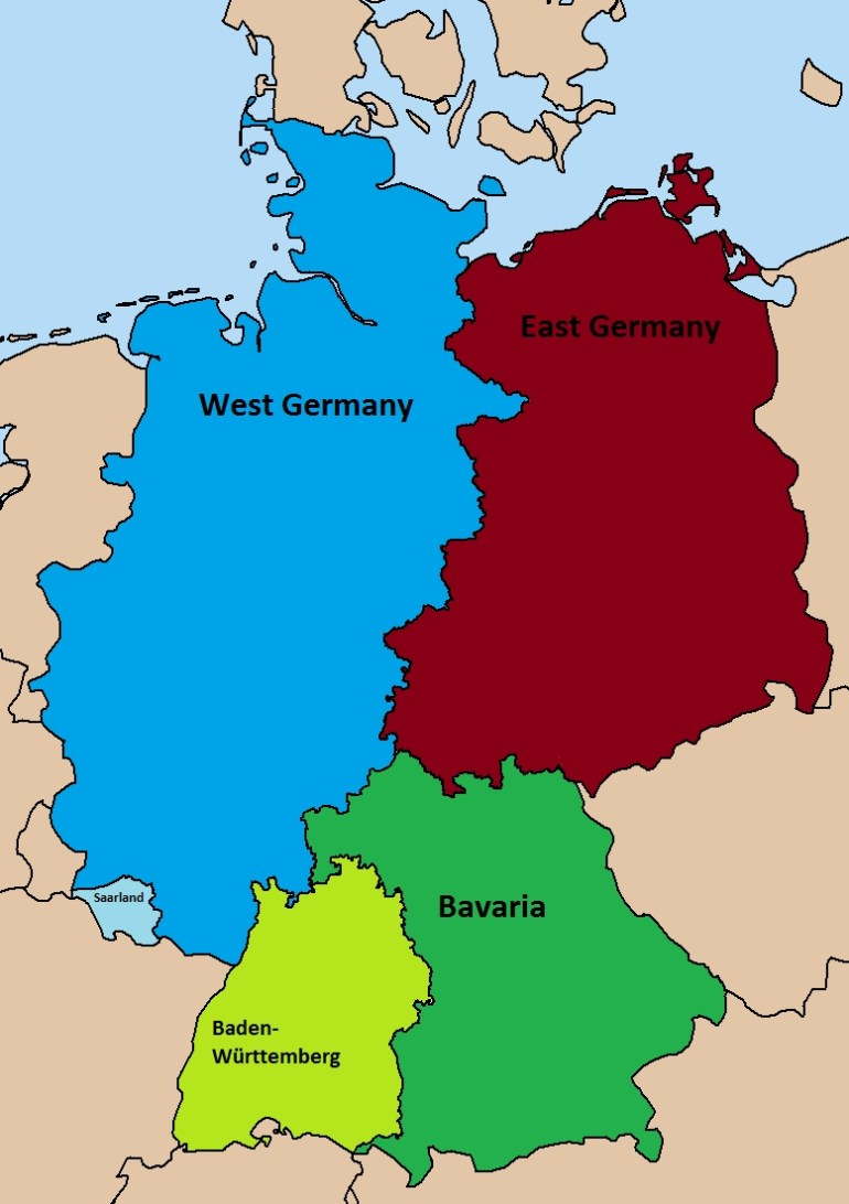 Divided Germany Map | Woestenhoeve within Map Of Germany Divided After Ww2