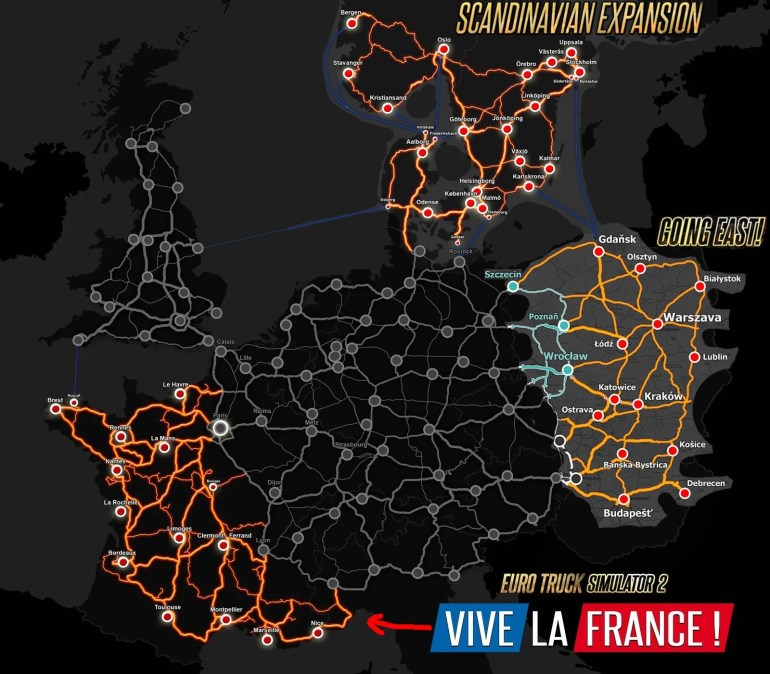 Dlc Map For Euro Truck Sim 2. Couldn't Find One So I Pieced One intended for German Truck Simulator Map