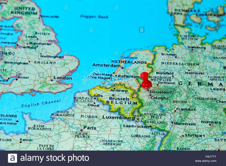 Dusseldorf, Germany Pinned On A Map Of Europe Stock Photo: 123327903 in Dusseldorf Location Germany Map