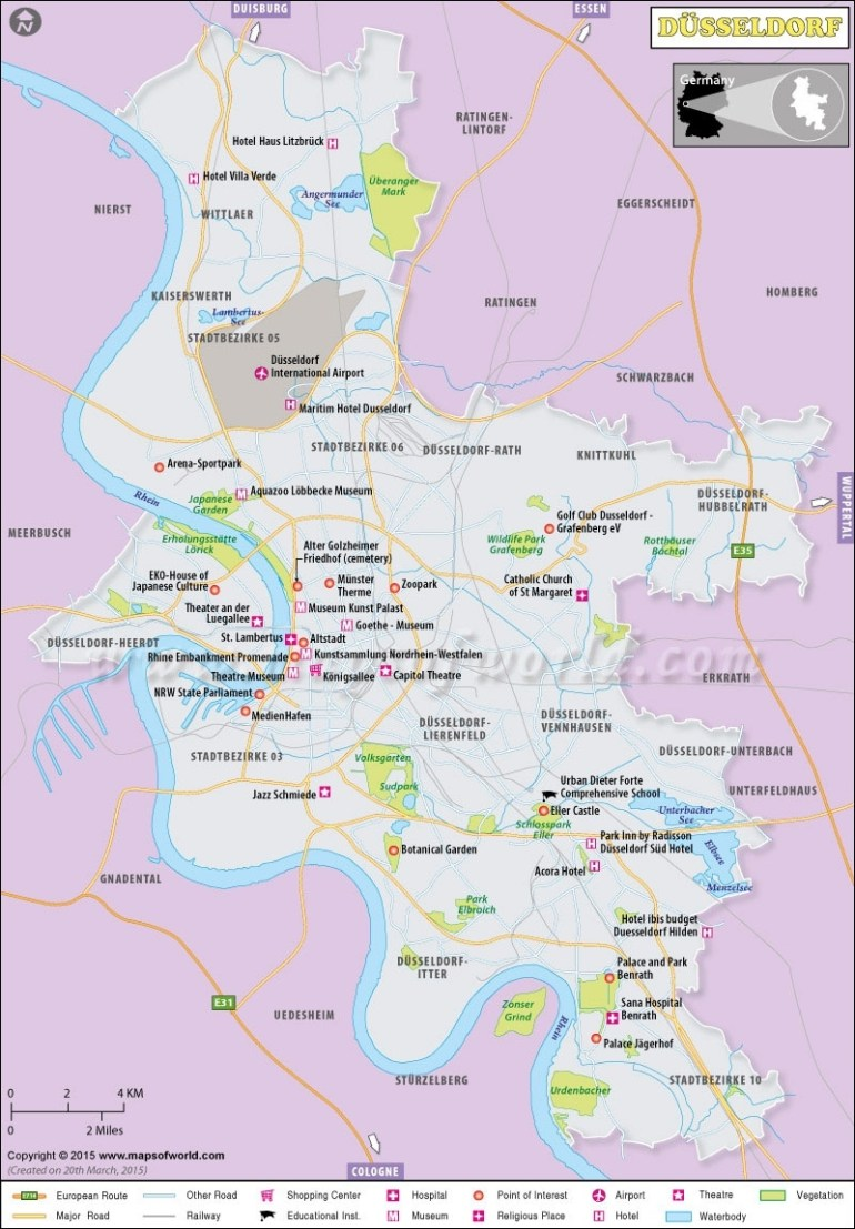 Dusseldorf Map | Map Of Dusseldorf City, North Rhine-Westphalias intended for Where Is Dusseldorf Germany On The Map