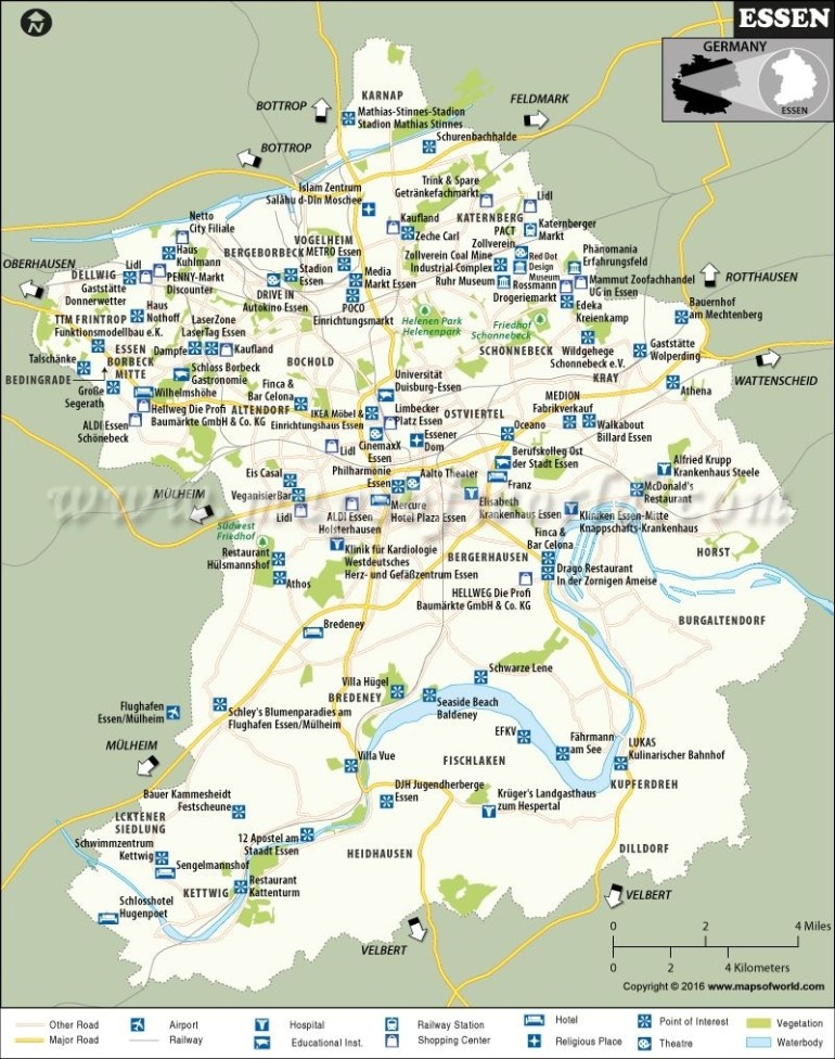 Essen Map | Maps | Map, Cities In Germany, Tourist Places regarding Essen Germany Map