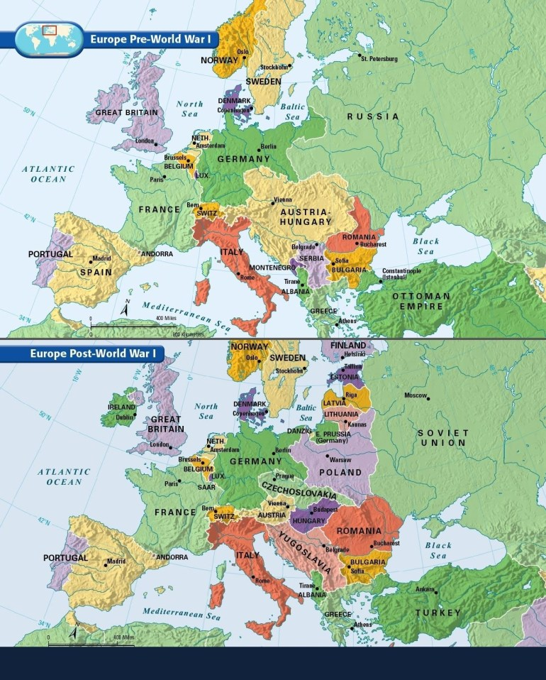Europe: Before And After The Great War Of 1914-1918. | Maps | Ww1 for Germany Map Before Ww1 And After