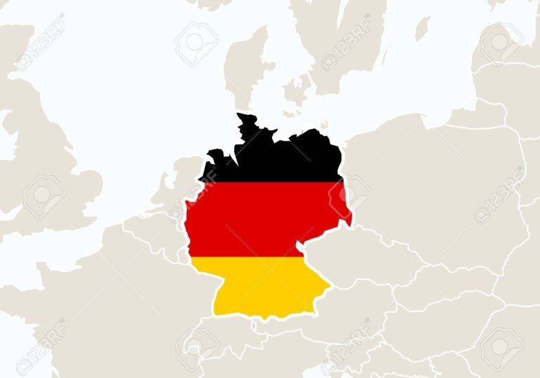 Europe With Highlighted Germany Map. Vector Illustration. with World Map With Germany Highlighted