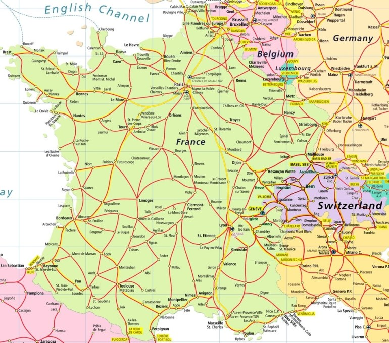 France And Germany Map And Travel Information | Download Free France in Map Of Germany And France Together