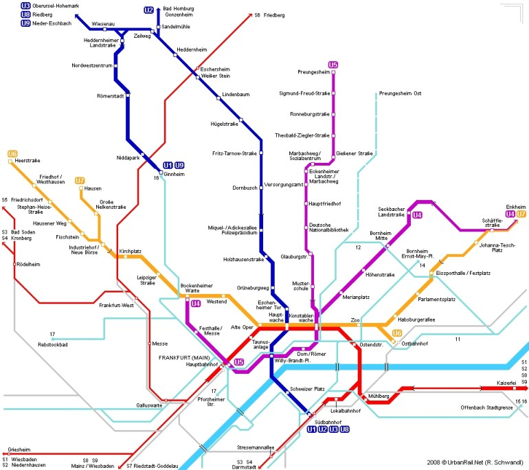 Frankfurt Am Main Subway Map For Download | Metro In Frankfurt Am with regard to Frankfurt Germany Train Map