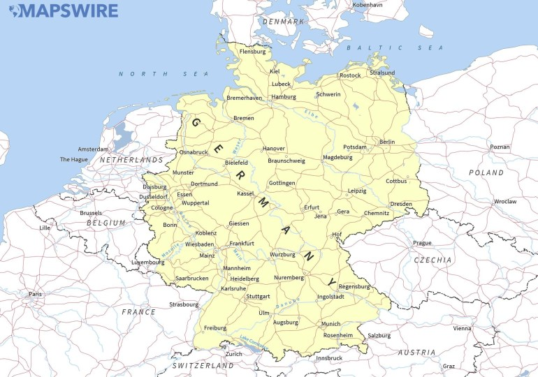 Free Maps Of Germany – Mapswire with regard to Printable Map Of Germany And Surrounding Countries
