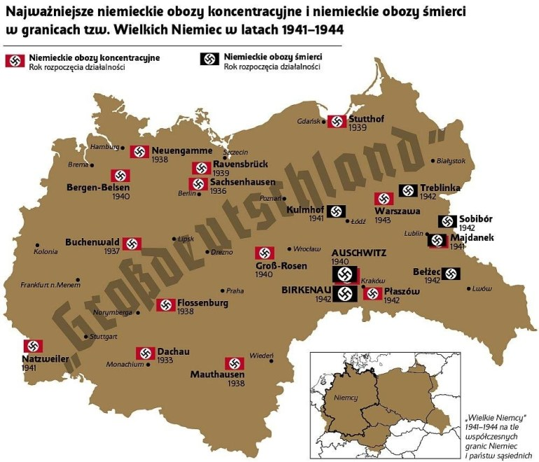 "German Concentration Camps And Exterminations In ""grossdeutschland in Map Concentration Camps In Germany"