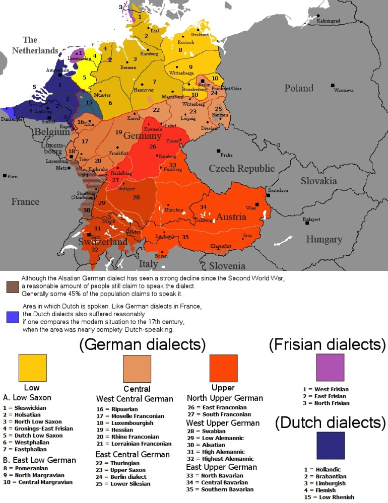 German Dialects - Wikipedia regarding Map Of Germany Divided Into East And West