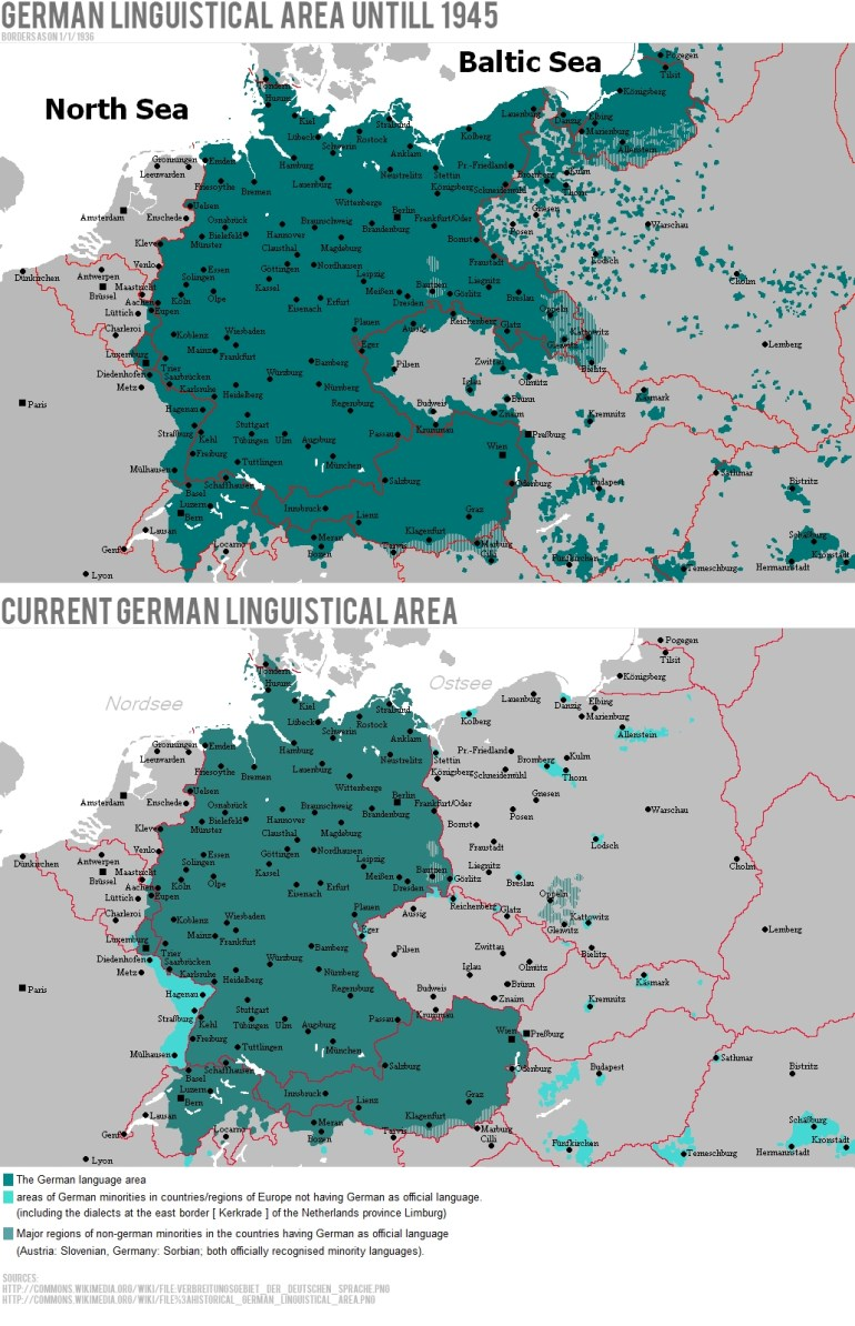 German Linguistic Area Until 1945 Vs. Now | History: The World Wars intended for Germany Map Before Ww2