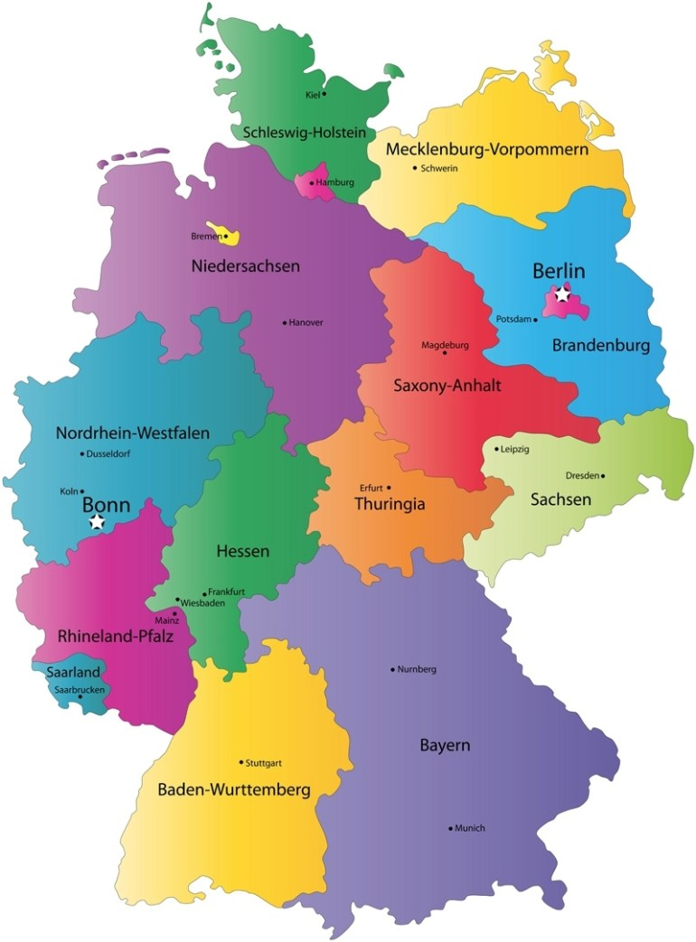 German States And State Capitals Map - States Of Germany in Map Of Germany With States And Cities