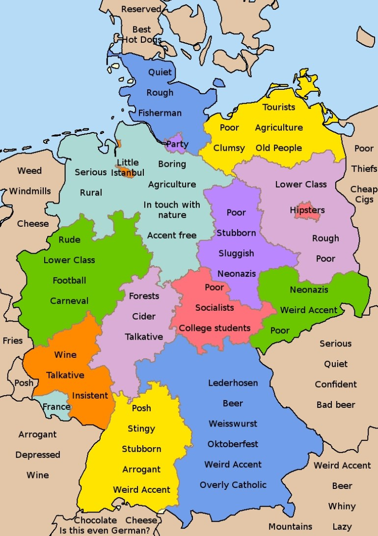 German Stereotypes | Maps | Map, German Language, Learn German within Map Of Germany In German Language