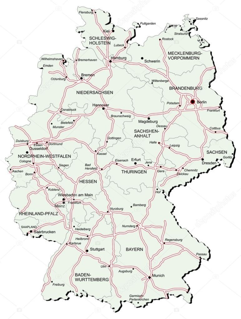 Germany Autobahn Map — Stock Vector © Bussja #3316502 throughout Autobahn Road Map Germany