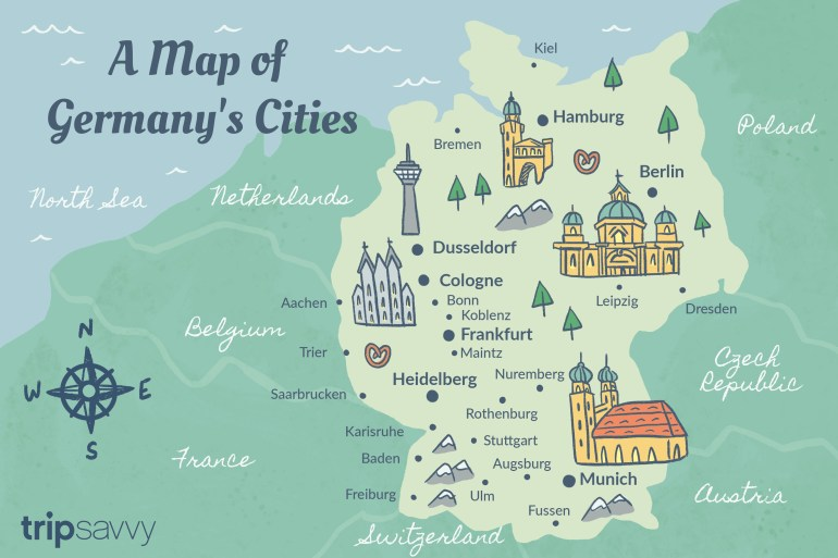 Germany Cities: Map And Travel Guide in Map Of Germany And Surrounding Countries With Cities