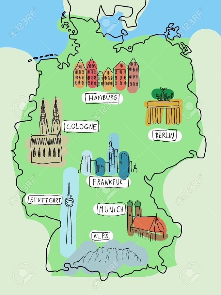 Germany - Doodle Map With Famous Places: Berlin, Hamburg, Cologne,.. within Map Of Alps In Germany